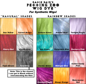 Wig Dye Colors - Shown on White Fiber