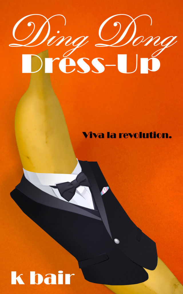 Image shows a banana wearing a tuxedo jacket on an orange background. There is a folded kerchief in the tuxedo pocket in the colors of the transgender pride flag.